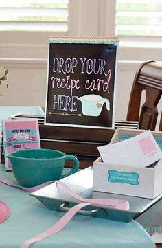 YES!! easy recipes for me to learn for a cooking themed shower.... minus this god awful teal color. yuck.