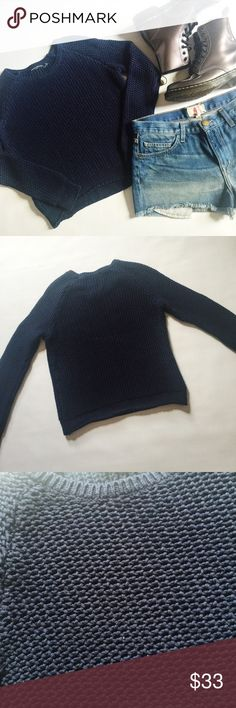 """Brandy Melville Open Knit Sweater Brandy Melville Open Knit Sweater in navy featuring pullover style.  Wear with boots or a floral skater skirt and Chuck's!  Pre-loved but in excellent condition.  No holes, stains or damage.  Lighting is slightly too bright, shows as a white or faded effect on pic.  💟BUNDLE entire outfit to SAVE and GET THE LOOK!💟 Measurements laying flat: Armpit to armpit: 17.5"""" Waist (across): 17""""  Total length: 19.5""""  Sleeve length: 23"""" Brandy Melville Sweaters"""