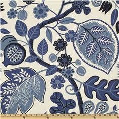 """P Kaufmann """"Chloe"""" 100% cotton fabric in Sapphire. $22.98 per Yard. #fabric #blue #flowers #leaves #slipcovers #expensive"""