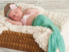$4.99  Mermaid Tail and Headband Crocheted Photography Prop  **Pattern Only** NB/3 Mths