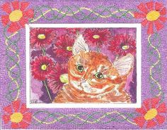Cat with Micro Mosaic Border by Theodora by THEODORADESIGNS, $10.00