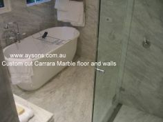 Marble floor and walls custom cut and book matched. www.aysons.com.au Marble Floor, Carrara Marble, Fireplace Hearth, Bbq Area, Granite, Bench, Walls, Flooring, Book