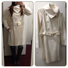 Guess long peacoat - ivory Guess long double breasted peacoat in ivory/cream with side pockets, one inner button closure at top (pic 2-left), button detail at sleeve (pic 3 - right), inner lining with guess logo, and belt. Worn less than 5 times. Shell is 60% wool, 40% viscose; lining is 100% polyester. Guess Jackets & Coats