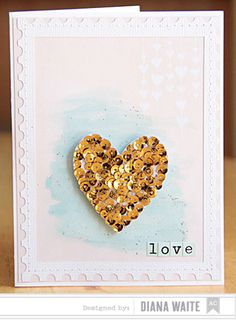 Love Card by Diana Waite - Scrapbook.com - Make a heart embellishment with gold sequins adhered to white cardstock.