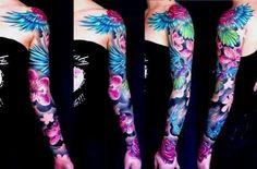 Blue and purple flower sleeve tattoo
