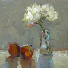 "Barbara Flowers, ""Two Peach and Hydrangeas"", Oil on Canvas, 24x24 - Anne Irwin Fine Art"