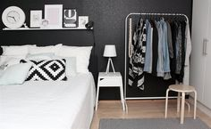LOVE this black feature wall in Magdaleena's bedroom in Finland | See more of her monochrome home in this month's LIVE from IKEA FAMILY magazine