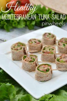 Healthy Mediterranean Tuna Salad Pinwheels -- a mayo-free tuna salad rolled up in whole grain tortillas Healthy Eating Recipes, Healthy Snacks, Cooking Recipes, Wrap Recipes, Side Dish Recipes, Tuna Fish Recipes, Mediterranean Tuna Salad, Salad Rolls, Finger Food Appetizers