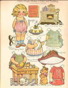 Dolly Dingle Makes A Cake and Pudding..Bonecas de Papel: Dolly Dingle Paper Dolls