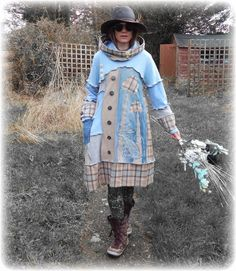 Fairytale Hare Mushroom Folk Pagan Blue Jumper Sweater Dress Snood Hood with Buttons ReCyCleD UpCyCleD Wearable Art - Size: Small/Medium Eco Clothing, Recycled Sweaters, Boho Outfits, Refashion, Diy Clothes, Diy Fashion, Knitwear, Wearable Art, Sew