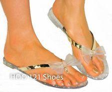 Rhinestone Bow Jelly Thong Sandal*Flip Flops Jellies Beach Wedding CLEAR 7