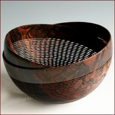 Weissflog carved turned wood bowl