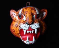 Finely Detailed, Hand Made & Painted Clay Jaguar Mask, Mexican Folk Art, Puebla