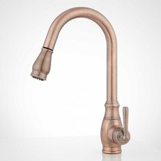 Update the look of your kitchen with the Withrow Single-Hole Kitchen Faucet. This faucet features a pull-down sprayer with a hose and a swivel spout to make it functional for any sink. With a brass body and rust-resistant finish, the Withrow Pull-Down Brushed Nickel Kitchen Faucet, Copper Faucet, Faucet Kitchen, Copper Farmhouse Sinks, Copper Kitchen, Sink Basket, Double Kitchen Sink, Best Kitchen Designs, Kitchen Ideas