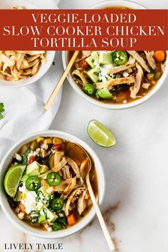 This healthy crock pot chicken tortilla soup is loaded with vegetables and flavor! It's easily customizable to be vegan, to use leftover chicken, or to make on the stove. If you need a dinner idea that comes together quickly in the morning and is ready when you get home, you can't go wrong with this soup. It's as nourishing as it is tasty! (gluten-free, dairy-free)