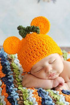 Pumpkin Orange Halloween  MICKEY MOUSE CROCHET Beanie by divapuppy, $11.50