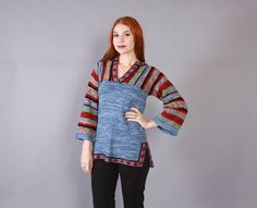 #Vintage #70s #SWEATER #1970s #1970sstyle #1970sfashion #1970schic #70stop #70sfashion #70sstyle #70schic #SpaceDyed #Blue #Striped #Boho #BellSleeve #Pullover #Knit #Top #cozyfashion #comfyclothes #fallfashion #Bohemianstyle #bohemianfashion #bohemiantop #bohostyle #bohochic #bohofashion