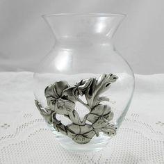 Seagull Pewter Flower Vase, Vintage, 5.5 Inch Tall Vase, Glass Vase