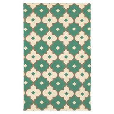 New Zealand wool rug with a geometric tile motif. Hand-woven in India.    Product: RugConstruction Material: New ...
