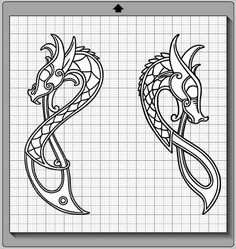 Celtic Knotwork Dragons SVG PNG and Silhouette by MentalEpisodes Viking Dragon, Celtic Dragon, Viking Art, Celtic Art, Dragon Silhouette, Fairy Silhouette, Silhouette Cameo, Viking Designs, Celtic Designs