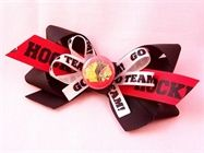 Show details for Blackhawks Hockey Hair Bow / Red, White and Black