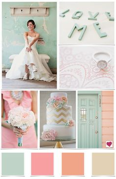 This color combo is gorgeous. Since I can't rewind time and do my wedding in these colors (tear) I will do my first girls nursery in them instead