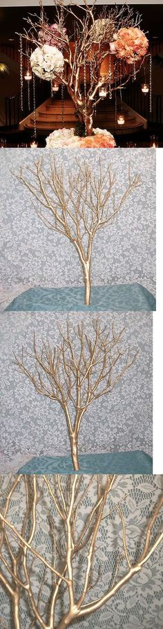 Centerpieces and Table D cor 159928: 12Pk 16 Tree Branches Only Champagne Gold Manzanita Centerpiece Diy Wedding -> BUY IT NOW ONLY: $72 on eBay!