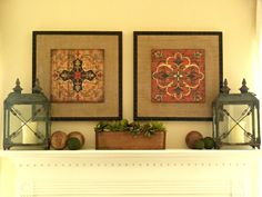 Mantle decor with Pier 1 Rust and Charcoal Aged Medallion Wall Decor