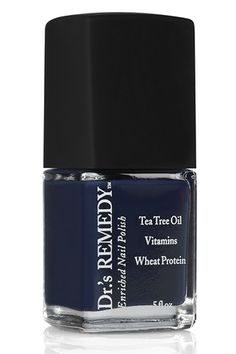 Dr.'s Remedy Noble Navy Nail Polish - No matter the season, some folks are dark polish-devotees. And, who can blame them? This glossy navy is enriched with tea tree oil, wheat protein, and vitamins C and E to nourish nails.