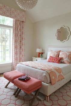Andrew Howard interior Design: Chic pink and orange girl's room with mirror.