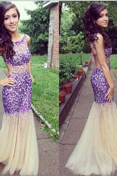 Mermaid Prom Evening Dresses Scoop Neck Stunning Beaded Open Back Sexy Cocktail Dress Formal Gown