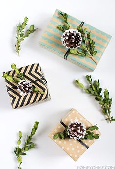 DIY Boxwood and Pinecone Gift Topper - Homey Oh My!