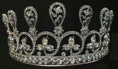"Diamond Diadem of Marie Antoinette. Composed of 9 graduated floral sprays of rose-cut diamonds. (Christie's & DeBeers ""Ageless Diamond"" exhibit in 1959)"