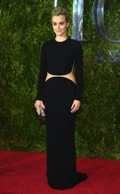 2015 TONY AWARDS RED CARPET ARRIVALS  TAYLOR SCHILLING  Embracing the midriff trend, theOrange Is the New Black star is a bold beauty in this minimalistic Michael Kors design.