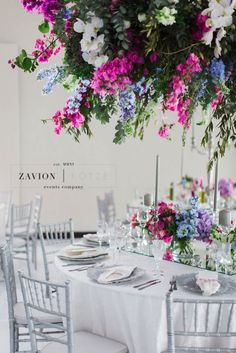Greek themed wedding with beautiful pastel colours, colors, hanging arrangements, delphiniums, orchids, hydrangeas, roses, bougainvillea, suspended florals, Zavion Kotze Delphiniums, Hydrangeas, Greek Wedding, Our Wedding, Pastel Colours, Colors, Event Company, Bougainvillea, Wedding Styles