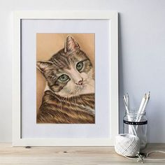 This listing is for a custom colored pencil drawing of ONE PET in your choice of sizes. The sample image shown is a portrait commissioned as an 11x14 for a pet sympathy gift. (If you would like two pets in the drawing, please select the listing that has 2 pets in the image.)  This listing is for a single custom pet portrait. This will be an up-close detailed painting of your pets face and part of their chest with a plain background, on drawing paper. This listing is not only for cats and…