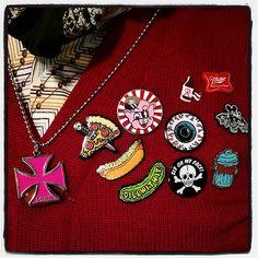 PORK SHOP Goon @vintagewolfpdx is wearing every enamel pin today!!! #ironcross #enamelpins #pizzaknife #allamerican #dillwithit #porku #eyeballs #sitonmyface #mickeybat #trash #porkshop #megamall | Flickr - Photo Sharing!