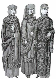 """Outfits of Medieval Russian Women, ca. 11th Century"" yeah -    Missy Birgit wonders at the source looking like early 20thc. engraved illus.  for/from what?  What makes it 11th c.?  Confirm orig. caption info."