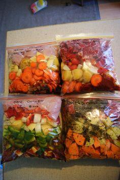 Slow Cooker Freezer Meal Recipes ~ Mediterranean Pork Chops, Teriyaki Chicken, BBQ Chicken, and Beef Stew.
