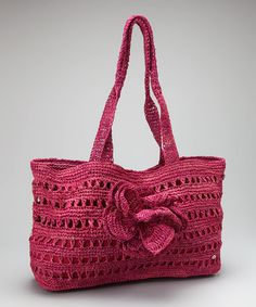 Take a look at this Azelea Rosette Crochet Raffia Chan Chan Tote by florabella on #zulily today!