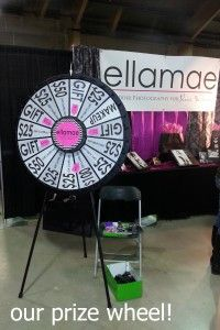 We have a large prize wheel and it was clicking all day long as ladies waited in line for their turn to win a prize!  We had lots of fun prizes on the wheel from Ellamae swag like pens and notepads, to make up and gift certificates towards session fees! Buy this Prize Wheel at http://PrizeWheel.com/products/floor-prize-wheels/floor-and-table-prize-wheel-12-24-slot-adaptable/.