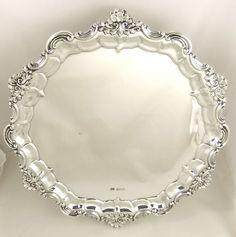 "Superb antique silver salver tray 12"" Sheffield 1908 12"" 843 grams."