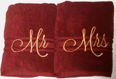 Mr. and Mrs. Bath Towel sets in Burgundy and Gold will make the perfect gift…