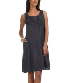 Another great find on #zulily! Navy Hola Linen Dress #zulilyfinds