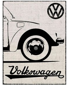 VW Beetle Hessian Outline Metal Wall Sign