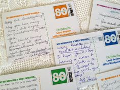 Milestone birthday postcards idea for Mom - send out pre-addressed postcards to friends and family for them to send back with memories and wishes for the birthday boy/girl. Such a great idea and inexpensive.