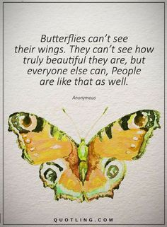 Quotes about beauty Butterflies can't see their wings. They can't see how truly beautiful they are, but everyone else can, people are like that as well.