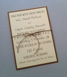 Rustic Modern Wedding Invitations. $2.00, via Etsy.
