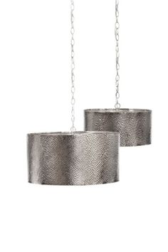 Hammered silver pendant light...LOVE!