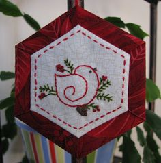 First of all here are my stitched ornaments from last Monday, was a crazy week and I just finished them this morning. I am not real happy wi. Christmas Patchwork, Quilted Christmas Ornaments, Felt Christmas Decorations, Fabric Ornaments, Christmas Sewing, Christmas Embroidery, Christmas Fabric, Handmade Ornaments, Felt Ornaments